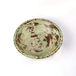 Wooden and Brass Round Green Bowl - FOLKBRIDGE.COM | Buy Gifts. Indian Handicrafts. Home Decorations.