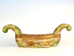 Wooden and Brass Boat Shaped Bowl, Small - FOLKBRIDGE.COM | Buy Gifts. Indian Handicrafts. Home Decorations.