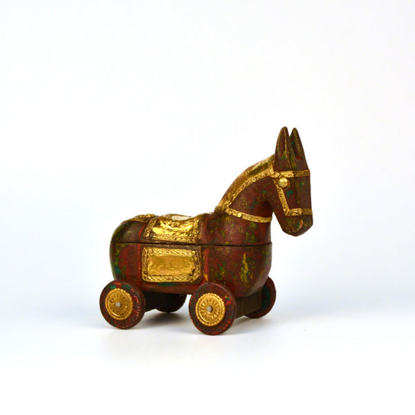 Wooden Brown Knick Knack Horse Box, Small - FOLKBRIDGE.COM | Buy Gifts. Indian Handicrafts. Home Decorations.