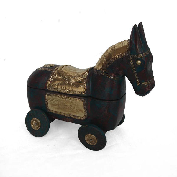 Wooden Brown Knick Knack Horse Box - FOLKBRIDGE.COM | Buy Gifts. Indian Handicrafts. Home Decorations.
