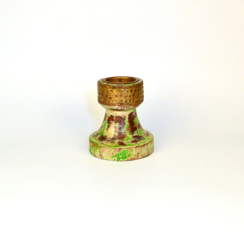 Wooden Green Round Candle Stand - FOLKBRIDGE.COM | Buy Gifts. Indian Handicrafts. Home Decorations.