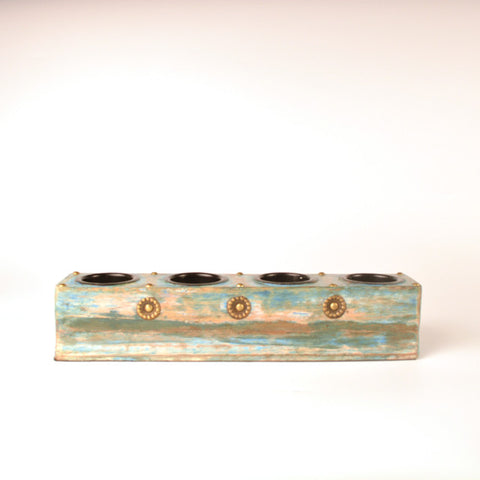 Wooden Rectangle Four Hole Tea Light Holder in Blue - FOLKBRIDGE.COM | Buy Gifts. Indian Handicrafts. Home Decorations.