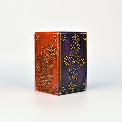 Square Wooden Red Pen Holder - FOLKBRIDGE.COM | Buy Gifts. Indian Handicrafts. Home Decorations.