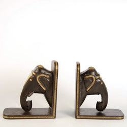 Wooden Elephant Book Ends in Dark Brown - FOLKBRIDGE.COM | Buy Gifts. Indian Handicrafts. Home Decorations.