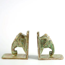 Wooden Elephant Book Ends in Green - FOLKBRIDGE.COM | Buy Gifts. Indian Handicrafts. Home Decorations.