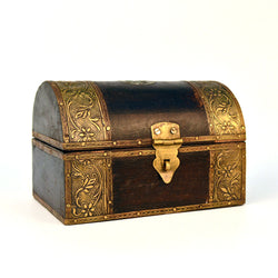 Wooden Dark Brown and Golden Treasure Chest, Small - FOLKBRIDGE.COM | Buy Gifts. Indian Handicrafts. Home Decorations.
