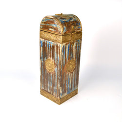 Wooden Golden and Blue Wine Or Bottle Holder - FOLKBRIDGE.COM | Buy Gifts. Indian Handicrafts. Home Decorations.