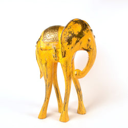 Wooden Yellow Elephant Figurine, Small - FOLKBRIDGE.COM | Buy Gifts. Indian Handicrafts. Home Decorations.