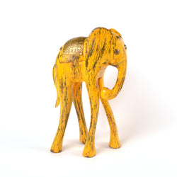 Wooden Yellow Elephant Figurine, Medium - FOLKBRIDGE.COM | Buy Gifts. Indian Handicrafts. Home Decorations.