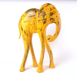 Wooden Yellow Elephant Figurine, Large - FOLKBRIDGE.COM | Buy Gifts. Indian Handicrafts. Home Decorations.