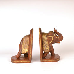 Wooden Brown Saluting Elephant Book Ends - FOLKBRIDGE.COM | Buy Gifts. Indian Handicrafts. Home Decorations.