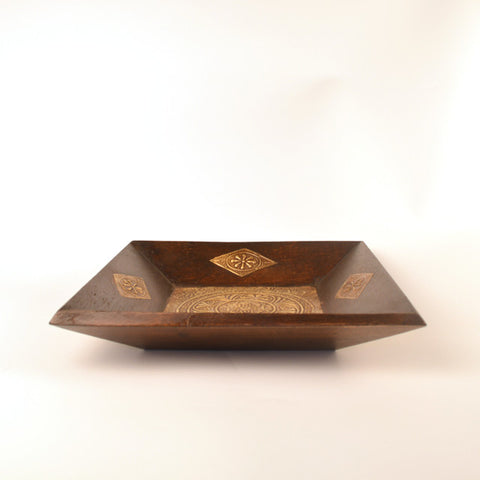 Square Wooden and Brass Brown Tray, Small - FOLKBRIDGE.COM | Buy Gifts. Indian Handicrafts. Home Decorations.