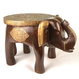 Wooden and Brass Brown Elephant Decorative Side Stool - FOLKBRIDGE.COM | Buy Gifts. Indian Handicrafts. Home Decorations.