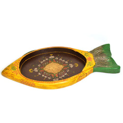 Wooden Yellow and Green Fish Platter - FOLKBRIDGE.COM | Buy Gifts. Indian Handicrafts. Home Decorations.