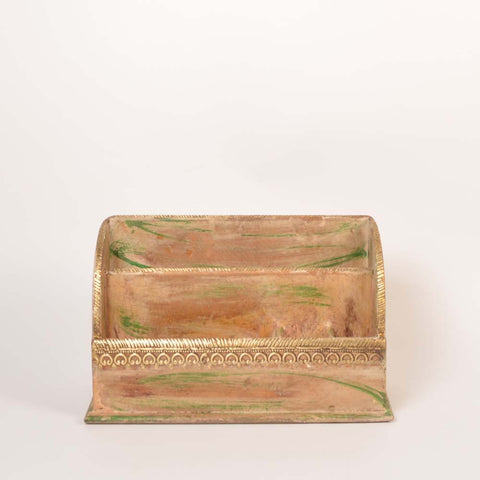 Green Wooden Table Organiser - FOLKBRIDGE.COM | Buy Gifts. Indian Handicrafts. Home Decorations.
