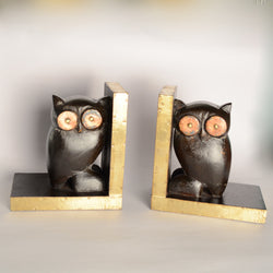 Wooden Owl Book Stoppers, Dark Brown - FOLKBRIDGE.COM | Buy Gifts. Indian Handicrafts. Home Decorations.