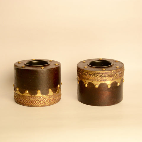 Brass Artwork Wooden Tea Light Holder, Small, Set Of 2 - FOLKBRIDGE.COM | Buy Gifts. Indian Handicrafts. Home Decorations.
