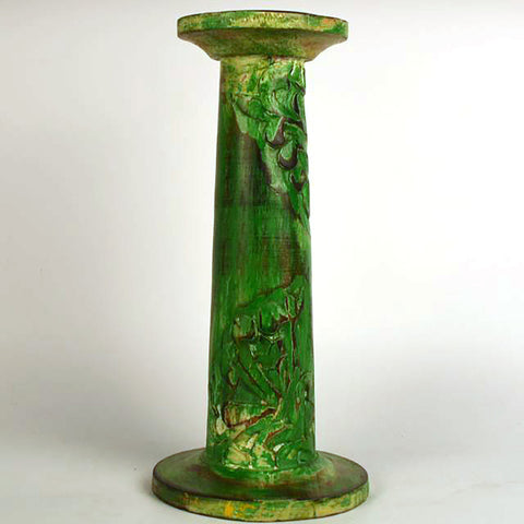 Green Wooden Pillar Round Candle Stand, Large - FOLKBRIDGE.COM | Buy Gifts. Indian Handicrafts. Home Decorations.
