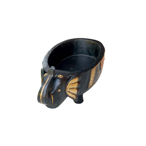 Wooden and Brass Black Elephant Bowl - FOLKBRIDGE.COM | Buy Gifts. Indian Handicrafts. Home Decorations.