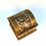 Wooden Brown and Golden Treasure Chest, Large - FOLKBRIDGE.COM | Buy Gifts. Indian Handicrafts. Home Decorations.
