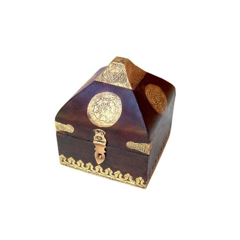 Wooden Brown and Golden Conical Box, Small - FOLKBRIDGE.COM | Buy Gifts. Indian Handicrafts. Home Decorations.