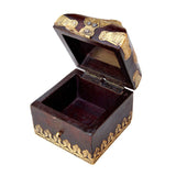 Wooden Brown and Golden Conical Box, Medium - FOLKBRIDGE.COM | Buy Gifts. Indian Handicrafts. Home Decorations.