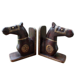 Wooden Dark Brown Horse Book Ends - FOLKBRIDGE.COM | Buy Gifts. Indian Handicrafts. Home Decorations.
