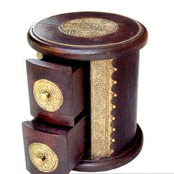 Round Wooden Chest of Two Drawers for Knick Knacks - FOLKBRIDGE.COM | Buy Gifts. Indian Handicrafts. Home Decorations.