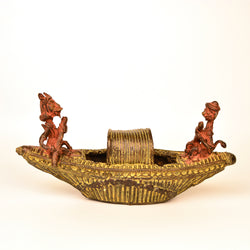 Brass Monkey and Tiger in Boat, Dhokra Art - FOLKBRIDGE.COM | Buy Gifts. Indian Handicrafts. Home Decorations.