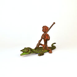 Brass Man on Crocodile in Green and Orange, Dhokra Art - FOLKBRIDGE.COM | Buy Gifts. Indian Handicrafts. Home Decorations.