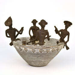 Brass Four Men in a Coracle Boat in White, Dhokra Art - FOLKBRIDGE.COM | Buy Gifts. Indian Handicrafts. Home Decorations.