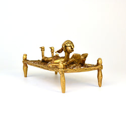 Brass Girl on a Woven Cot, Dhokra Art - FOLKBRIDGE.COM | Buy Gifts. Indian Handicrafts. Home Decorations.
