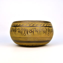 Brass Yellow Tibetan Round Singing Bowl with Wooden Gong - FOLKBRIDGE.COM | Buy Gifts. Indian Handicrafts. Home Decorations.