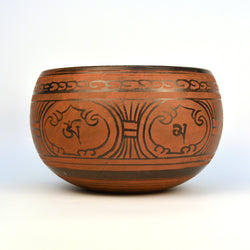 Brass Red Tibetan Round Singing Bowl with Wooden Gong - FOLKBRIDGE.COM | Buy Gifts. Indian Handicrafts. Home Decorations.