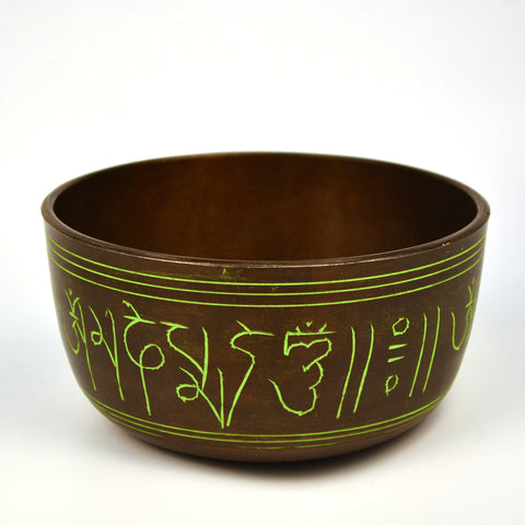 Brass Green Tibetan Round Singing Bowl with Wooden Gong - FOLKBRIDGE.COM | Buy Gifts. Indian Handicrafts. Home Decorations.