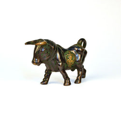 Black and Green Brass Bull Figurine - FOLKBRIDGE.COM | Buy Gifts. Indian Handicrafts. Home Decorations.