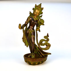 Black, Green and Brass Goddess Tara Figurine - FOLKBRIDGE.COM | Buy Gifts. Indian Handicrafts. Home Decorations.