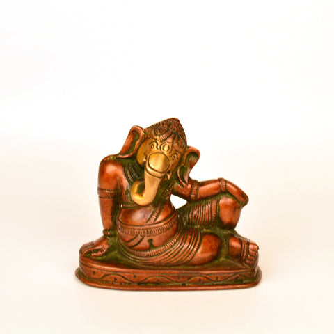 Leaning Multicolored Ganesh Idol in Brass - FOLKBRIDGE.COM | Buy Gifts. Indian Handicrafts. Home Decorations.