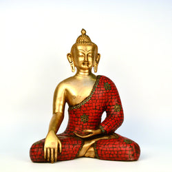 Giving Buddha Figurine in Brass and Red Stones - FOLKBRIDGE.COM | Buy Gifts. Indian Handicrafts. Home Decorations.