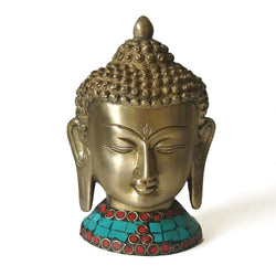 Buddha Face Figurine in Brass, Red and Blue Stones, Large - FOLKBRIDGE.COM | Buy Gifts. Indian Handicrafts. Home Decorations.