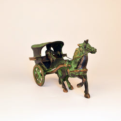 Black and Green Brass Horse Cart Figurine - FOLKBRIDGE.COM | Buy Gifts. Indian Handicrafts. Home Decorations.