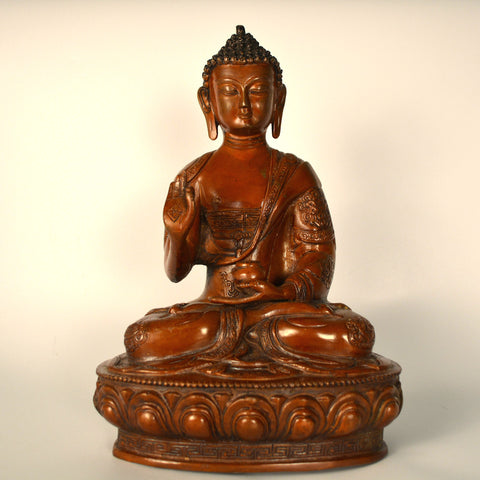 Brass Brown Buddha Figurine in Abhaya Mudra, Big - FOLKBRIDGE.COM | Buy Gifts. Indian Handicrafts. Home Decorations.
