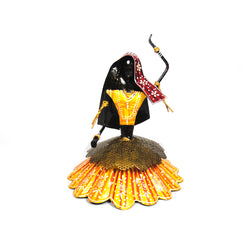 Iron Rajasthani Folk Dancer Or Kalbelia Dancer Statuette, Yellow Dress - FOLKBRIDGE.COM | Buy Gifts. Indian Handicrafts. Home Decorations.