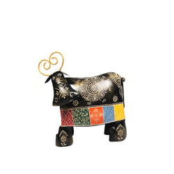 Hand Painted Embossed Work Multicoloured Decorative Iron Cow - FOLKBRIDGE.COM | Buy Gifts. Indian Handicrafts. Home Decorations.