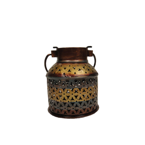 Colourful Iron Filigree Work Bucket Or Balti Shaped Tea Light Candle Holder - FOLKBRIDGE.COM | Buy Gifts. Indian Handicrafts. Home Decorations.