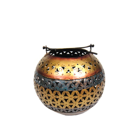 Colourful Iron Cutwork Ball Shaped Tea Light Candle Holder, Large - FOLKBRIDGE.COM | Buy Gifts. Indian Handicrafts. Home Decorations.