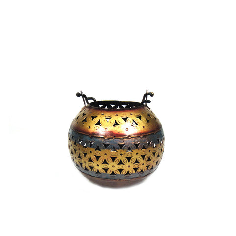 Colourful Iron Cutwork Ball Shaped Tea Light Candle Holder, Small - FOLKBRIDGE.COM | Buy Gifts. Indian Handicrafts. Home Decorations.