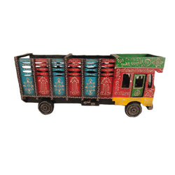 Multicoloured Wooden Truck Bottle Holder, Red And Green Front Side - FOLKBRIDGE.COM | Buy Gifts. Indian Handicrafts. Home Decorations.