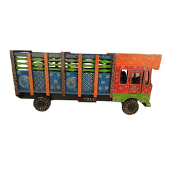 Multicoloured Wooden Truck Bottle Holder, Orange And Green Front Side - FOLKBRIDGE.COM | Buy Gifts. Indian Handicrafts. Home Decorations.