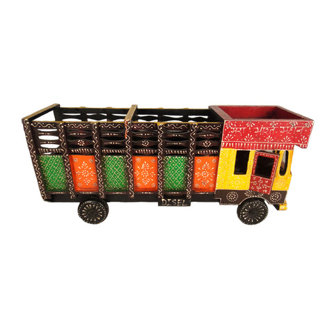 Multicoloured Wooden Truck Bottle Holder, Yellow And Brown Chasis - FOLKBRIDGE.COM | Buy Gifts. Indian Handicrafts. Home Decorations.